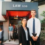 griffith law school students outside law building